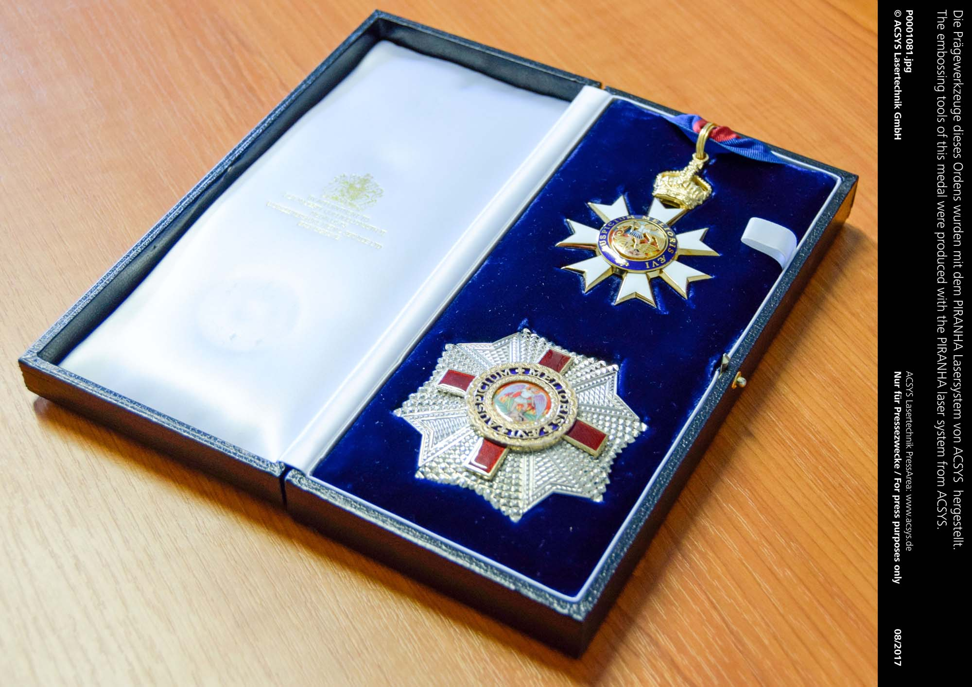 The embossing tools of this medal were produced with the PIRANHA laser system from ACSYS.