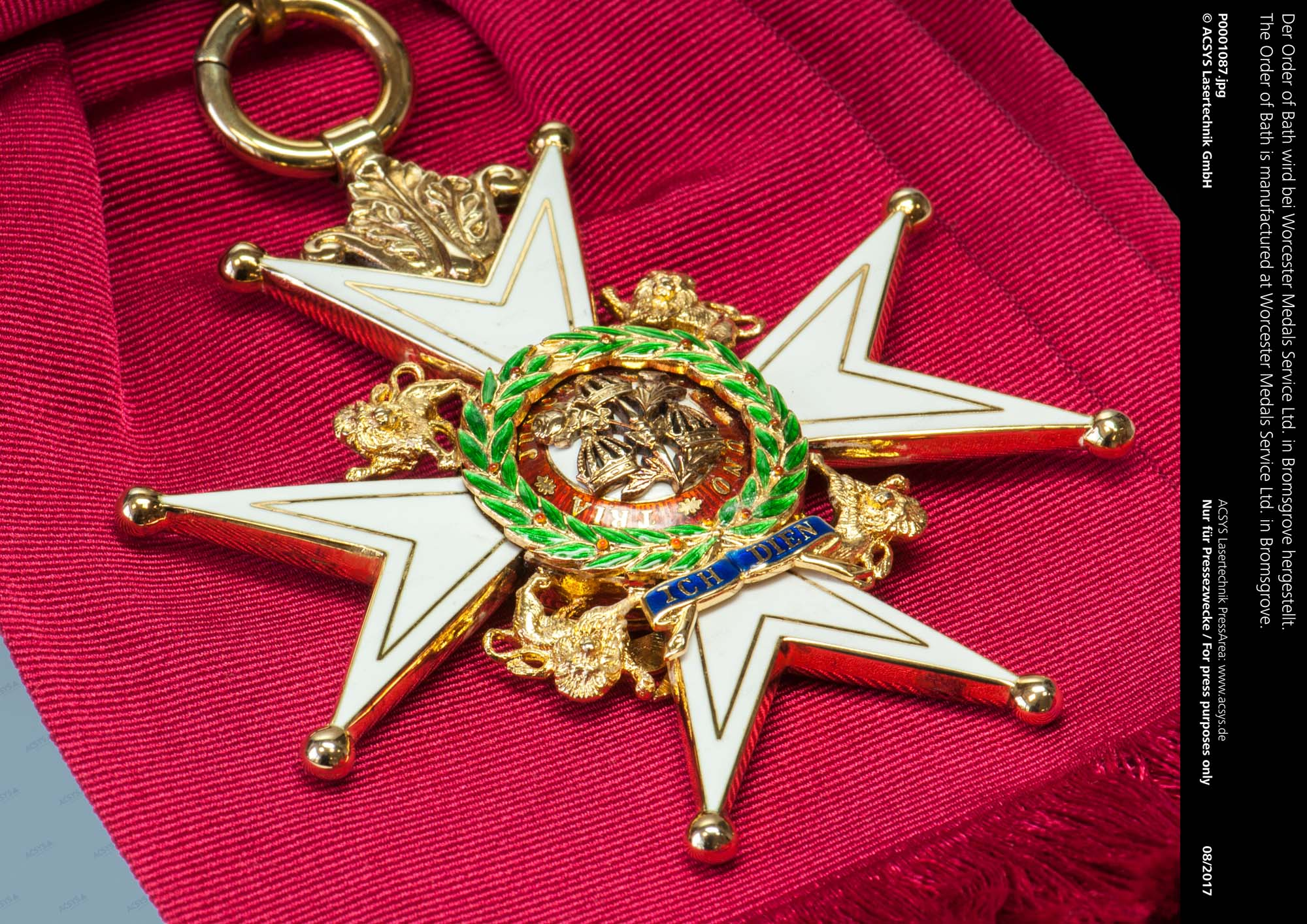 The Order of Bath is manufactured at Worcester Medals Service Ltd. in Bromsgrove.
