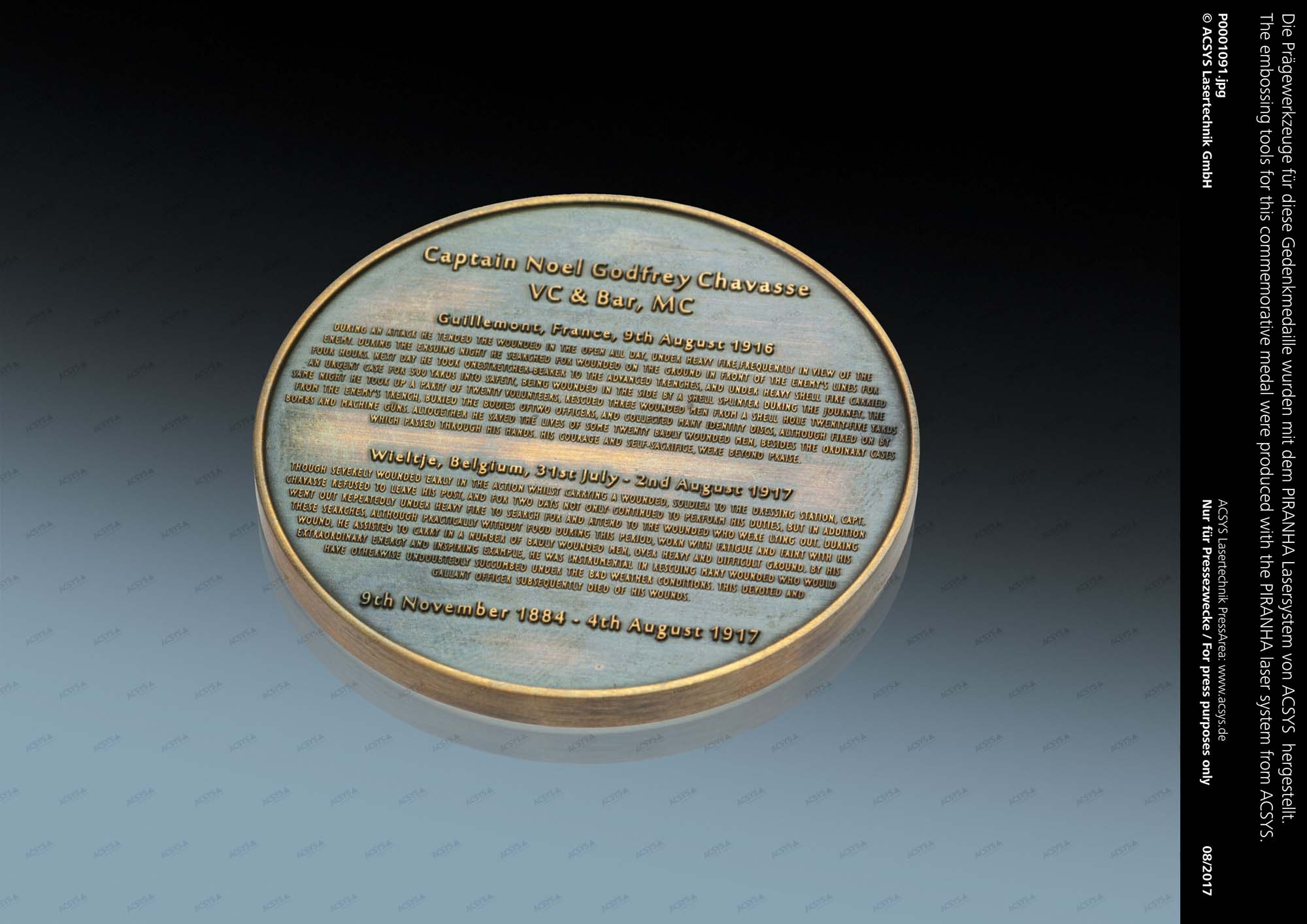 The embossing tools for this commemorative medal were produced with the PIRANHA laser system from ACSYS.
