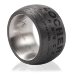 Laser engraving of a signet ring – titanium and carbon
